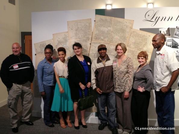 From left to right: Mike Grella, Mimi Adams, Yonerky Santana, Ana Stipanovic, Walnut, Julia Greene, Wendy Joseph, Jeff Mulumbi at the Lynn Museum.