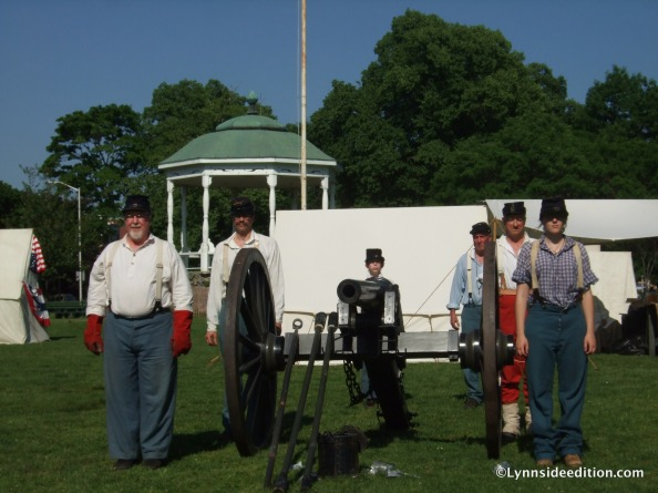 Getting ready to fire the cannon for the last time. Dan Wood is the first man on the left; his son behind the cannon. Katie Fiorella stands first to the right.